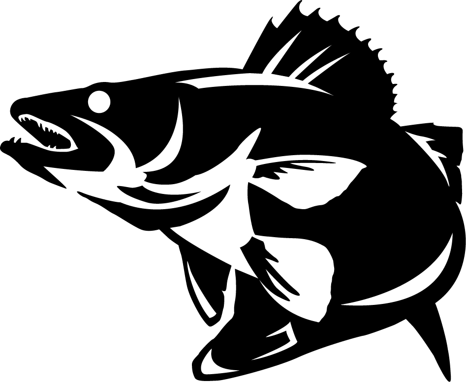 Walleye striking wall decal for Free fishing stickers