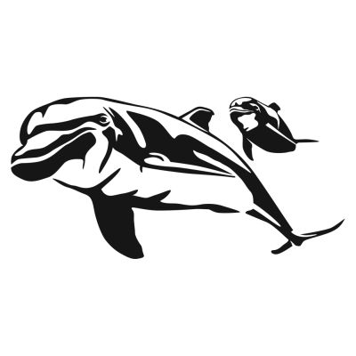 Dolphin and calf decal for Saltwater fishing decals