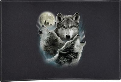 Three Wolves Door Mat