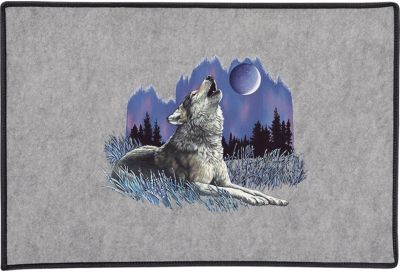Wolf Howling At Moon Door Mat