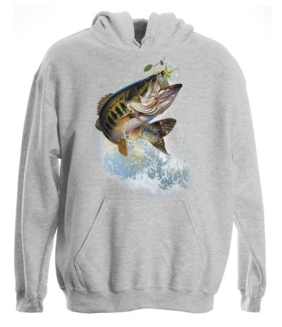 Fish and hook largemouth bass pullover hooded sweatshirt for Bass fishing hoodies