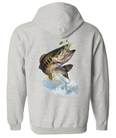 Fish and hook largemouth bass zippered hoodie for Bass fishing hoodies