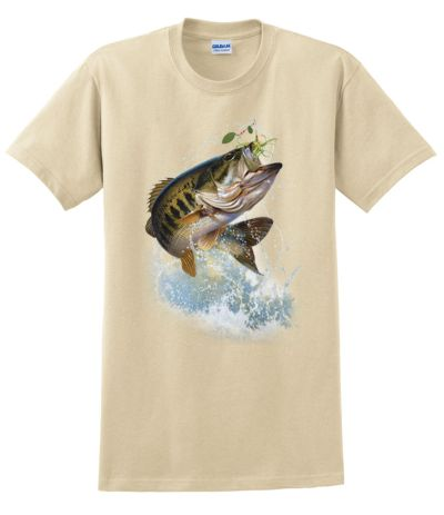 Fish and hook largemouth bass t shirt for Bass fishing shirt