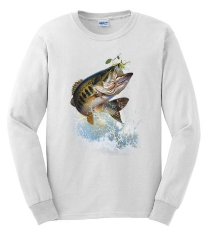 Fish and hook largemouth bass long sleeved tshirt for Bass fishing shirt