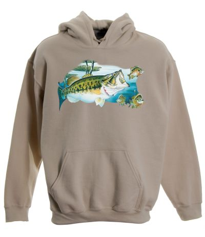 Large mouth bass pullover hooded sweatshirt for Bass fishing hoodies