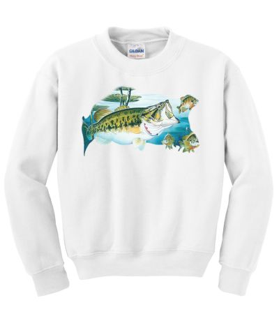 Large mouth bass crew neck sweatshirt for Bass fishing hoodies