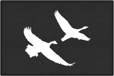 2 Geese Flying Silhouette Door Mats