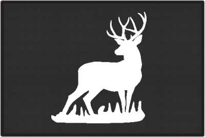 Mule Deer Buck Silhouette Door Mats