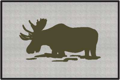 Feeding Moose Silhouette Door Mats
