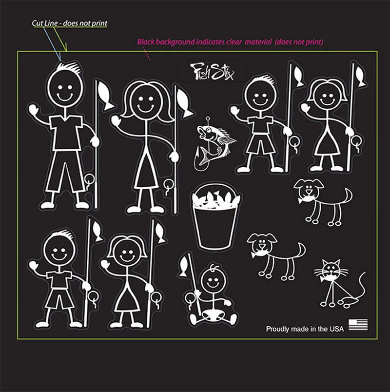 fishing family stick people sticker decals