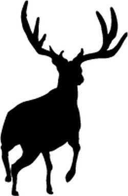 big game decal mule deer running