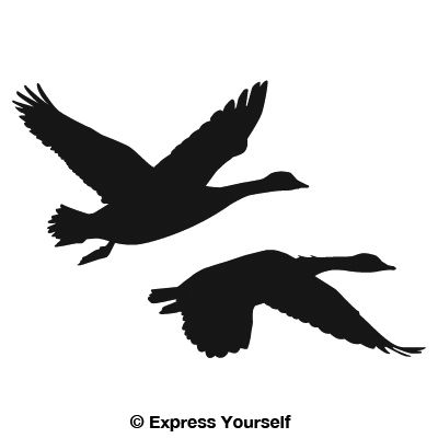 2 geese flying decal