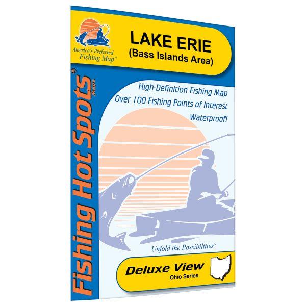 Ohio Erie LakeBass Islands Area Lake Fishing Hot Spots Map - Lake erie fishing hot spots map