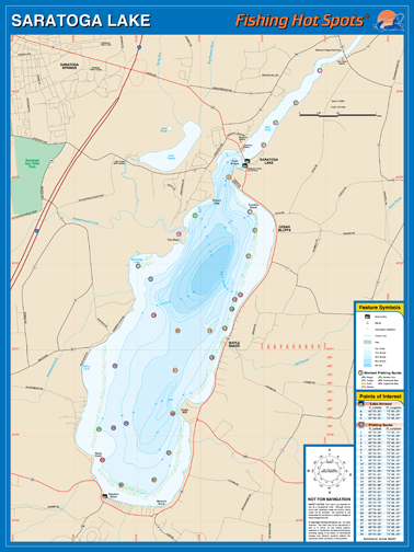 New york saratoga lake fishing hot spots map for Fishing hot spots maps