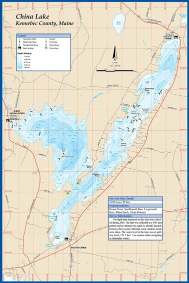 China Lake Maine Map.Maine Megunticook Lake Fishing Hot Spots Map