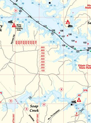 Pennsylvania Raystown Lake Fishing Hot Spots Map
