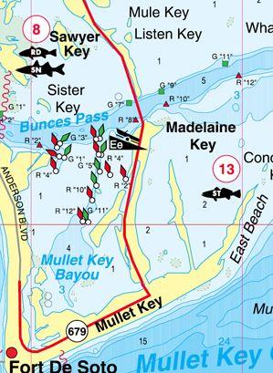 Florida islamorada including flamingo and florida bay for Fishing hot spots maps