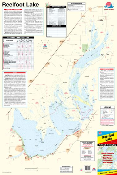 Tennessee Reelfoot Lake Fishing Hot Spots Map - Fishing contour maps