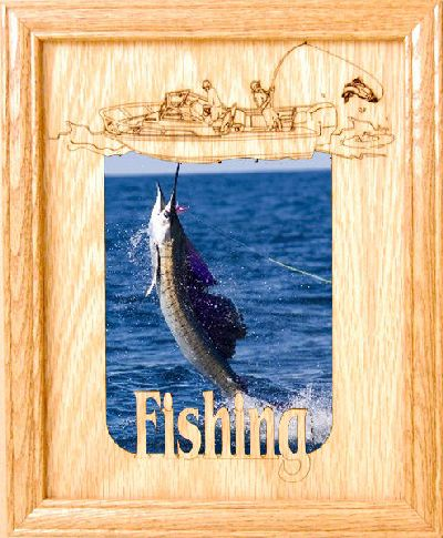 Fish on 5x7 vertical picture frame for Fishing picture frame